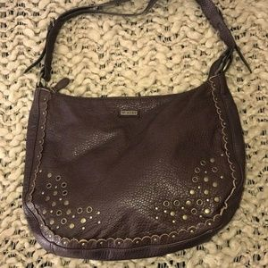 Roxy Brown Manmade Hobo Purse Grommet Scallop